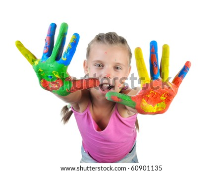 little girl with the palms painted by a paint. Isolated on white - stock photo