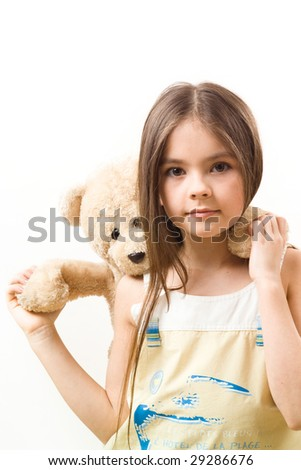 Little girl with toy - stock photo