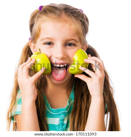 little girl with two halves of an apple isolated on white background - stock photo