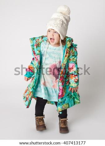 little girl yells - stock photo