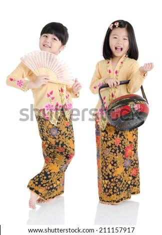little girls in nyoya  traditional costume - stock photo