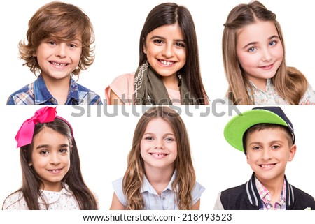 Little group of beautiful kids portraits - Collage - stock photo
