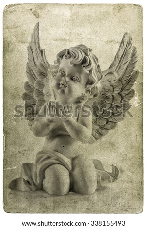 Little guardian angel. Used photo cardboard texture. Old paper sheet. Christmas card concept - stock photo