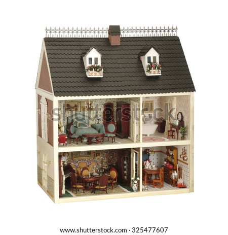 little handmade house of dolls with furniture  - stock photo