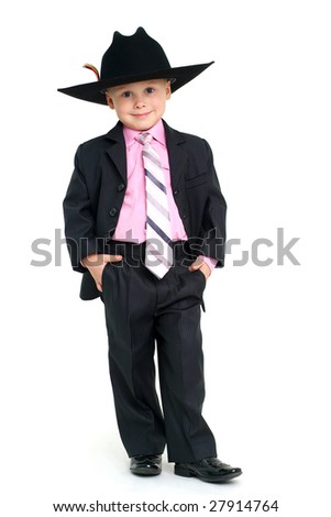 Little handsome boy in elegant suit and hat - stock photo