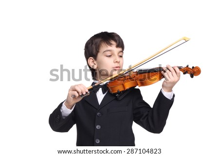little handsome boy sleeping playing the violin isolated on white - stock photo