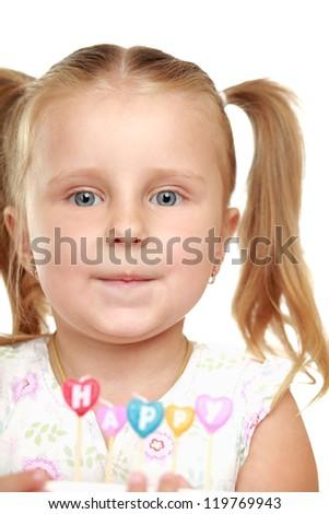 Little happy girl, isolated on white background - stock photo