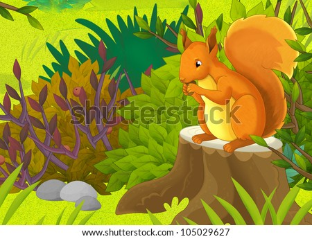Little happy  squirrel eating at the clearing - stock photo