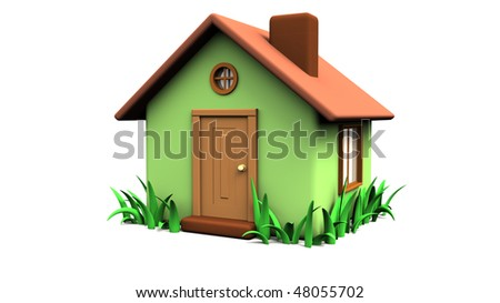little house 3d with grass - stock photo