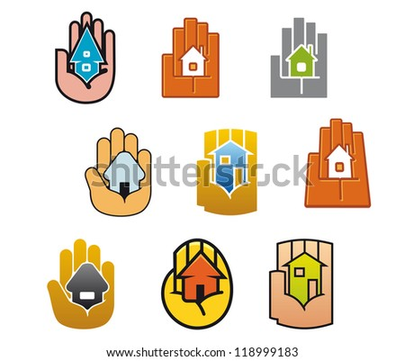 Little house in hands for real estate business design, such a logo template. Vector version also available in gallery - stock photo