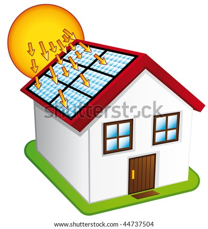 Little house with solar panels. - stock photo