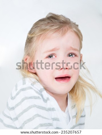 little kid crying with desperation - stock photo