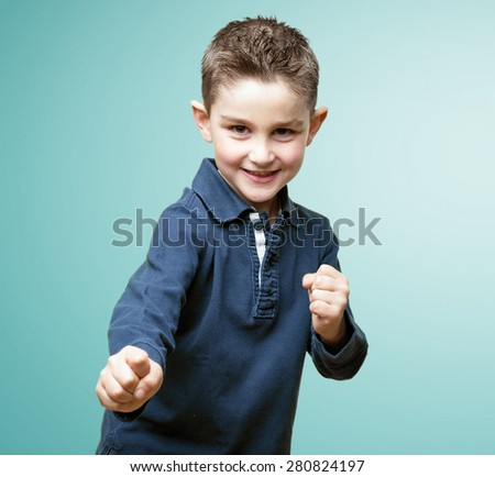little kid fighting - stock photo