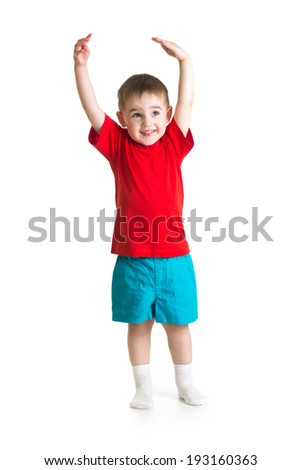 little Kid or child growing Isolated on white - stock photo