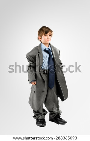 Little Kid playing Businessman  - stock photo