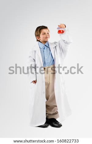 Little Kid playing Scientist  - stock photo