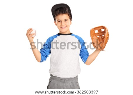 Little kid with baseball glove holding a baseball and looking at the camera isolated on white background - stock photo