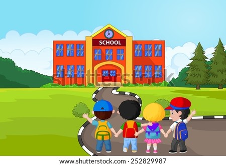Little kids are going to school - stock photo