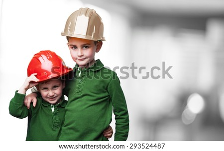 little kids as a architects - stock photo