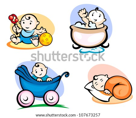 Little kids in cartoon style sleeping, washing and playing with toys, such a logo. Vector version also available in gallery - stock photo