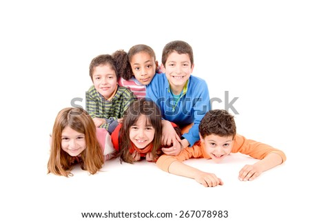 little kids isolated in white background - stock photo