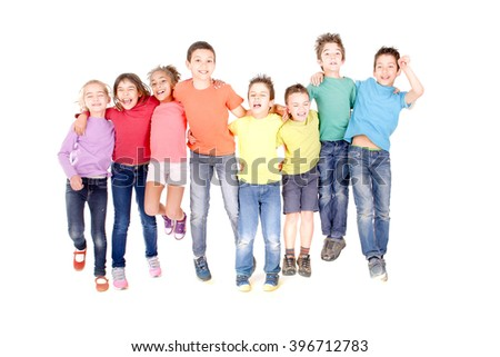 little kids jumping isolated in white background - stock photo