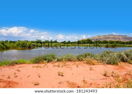 Little lake at Rio Grande Nature Center State Park - stock photo