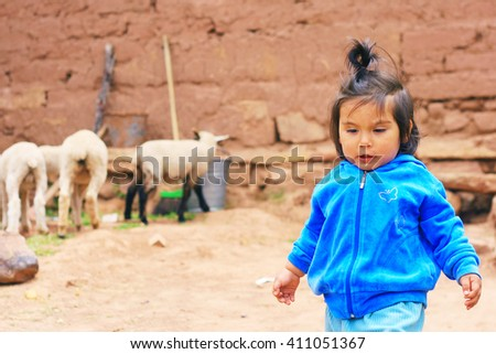 Little latin girl with sheep - stock photo
