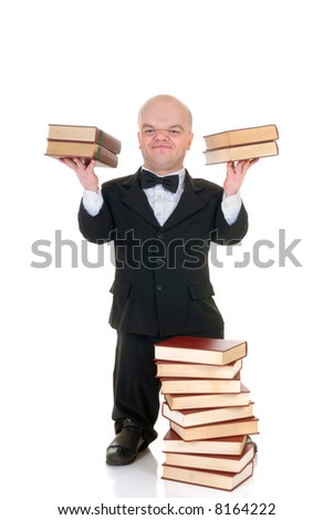 Little man, dwarf teacher in a formal suit holding two stack of books, encyclopedia, studio shot, white background - stock photo