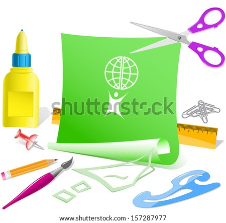 Little man with globe. Paper template. Raster illustration. - stock photo