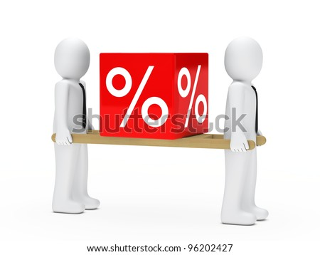 little men with tie hold sale cube - stock photo