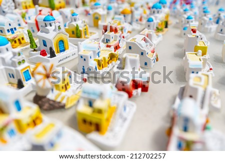 Little Modell Houses In A Greek Gift Shop In Santorini, Greece - stock photo