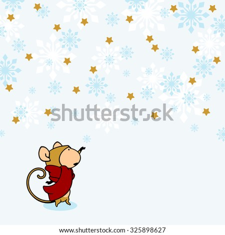 Little Monkey under snow (raster version) - stock photo