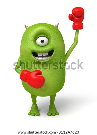Little monster is a fighter - stock photo