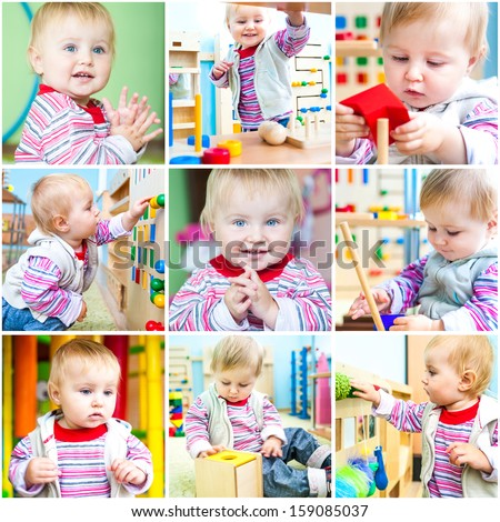 Little 11-month-old girl at school early development. A collage of photos - stock photo