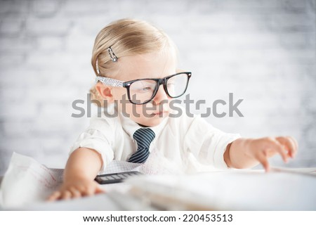 Little nerd - stock photo