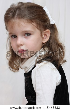 Little offended and upset beautiful girl - stock photo