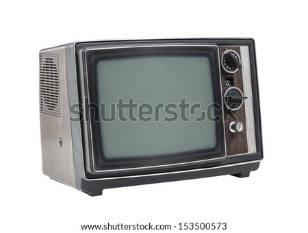 Little old television set isolated with clipping path. - stock photo