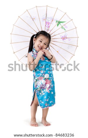Little oriental girl in traditional Chinese dress cheongsam with umbrella - stock photo