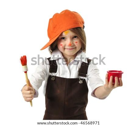 Little painter - stock photo