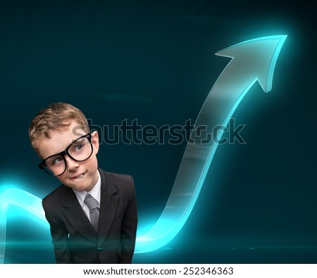 Little pensive businessmen in glasses with arrow going up. Concept of leadership and success - stock photo