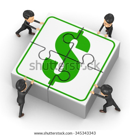 Little People collect puzzle with dollar - stock photo