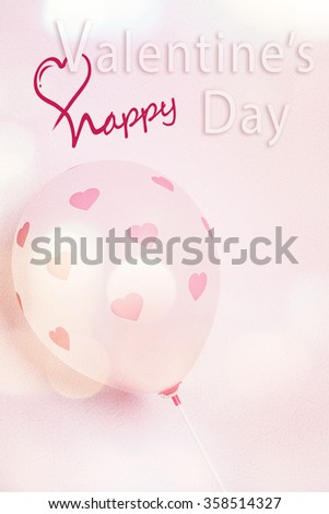 little pink hearts on balloon background for valentine's concept - stock photo