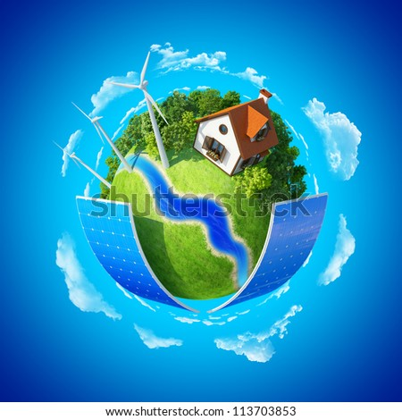 Little planet. Lawn, house and trees. Concept of success and happiness, idyllic ecological lifestyle. - stock photo