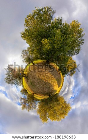 Little planet with olive trees on the perimeter, surrounded by cloudy sky - stock photo