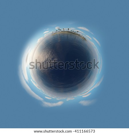 Little planet with palm trees, sea and tropical island. 3D Rendering. - stock photo