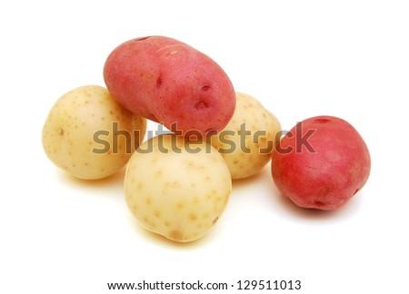 Little potatoes on white background - stock photo