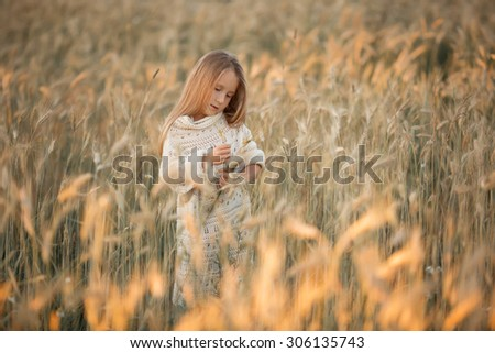 little pretty girl with long blond hair standing in the field of wheat of corn and thinking at summer time at sunset - stock photo