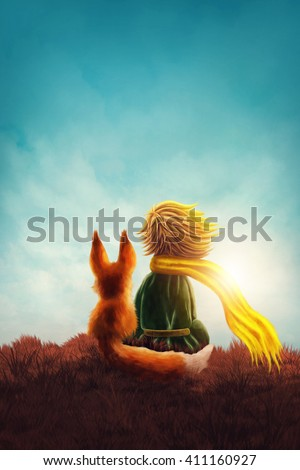 Little prince and the fox - stock photo
