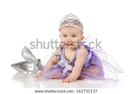Little Princess.  Adorable baby girl dressed up as a little princess.  Isolated on white. - stock photo